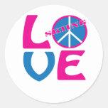 Paz, amor, y camisetas y regalos del esquí etiquetas redondas