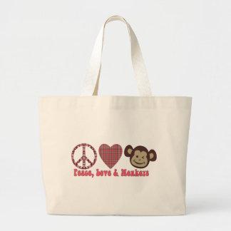 Paz, amor y camisetas y regalos retros de los mono bolsa de tela grande
