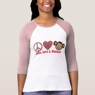 Paz, amor y camisetas y regalos retros de los mono