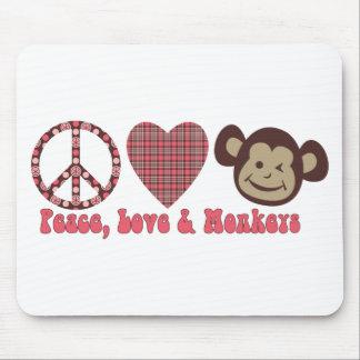 Paz, amor y camisetas y regalos retros de los mono tapetes de raton