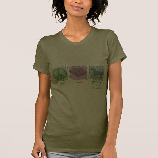 Paz, amor, y cañada en colores pastel de los terri camisetas