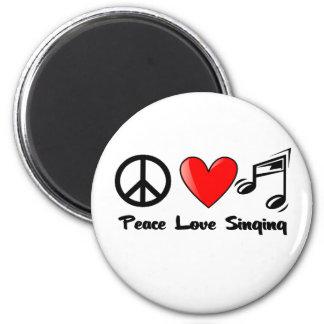 Paz, amor, y canto iman para frigorífico