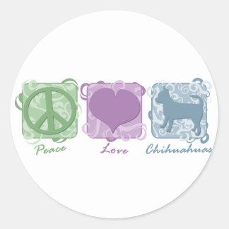 Paz amor y chihuahuas en colores pastel pegatinas