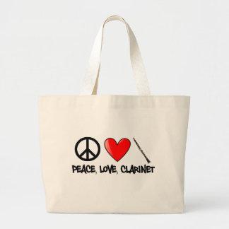 Paz, amor, y Clarinet Bolsa Tela Grande