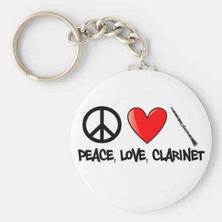 Paz, amor, y Clarinet Llavero Redondo Tipo Pin
