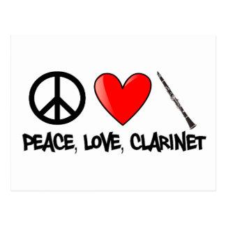 Paz, amor, y Clarinet Tarjetas Postales