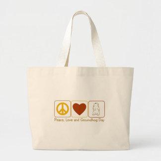 Paz, amor y día de la marmota bolsa de mano