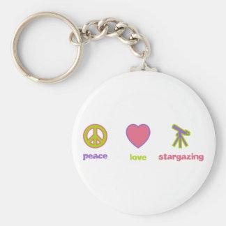 Paz, amor y el Stargazing Llavero Redondo Tipo Pin