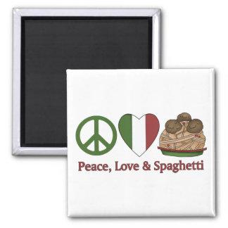 Paz, amor y espaguetis imanes para frigoríficos
