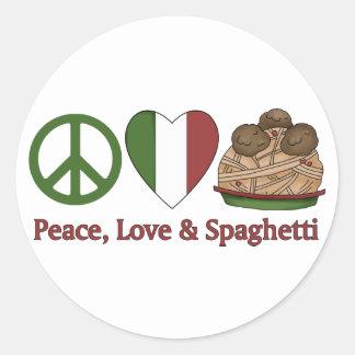 Paz, amor y espaguetis pegatina redonda