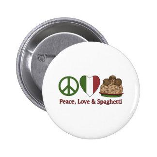 Paz, amor y espaguetis pin redondo 5 cm