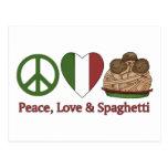 Paz, amor y espaguetis postales
