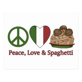 Paz, amor y espaguetis tarjetas postales