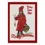 Paz, amor y esperanza en el navidad tarjetas