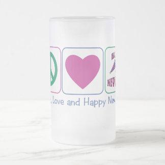 Paz, amor y Feliz Año Nuevo Tazas De Café