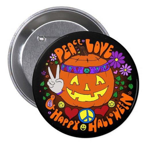 ¡Paz, amor, y feliz Halloween! Botón del diseñador Pin