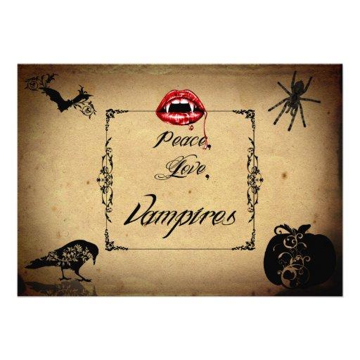 Paz, amor, y fiesta de Halloween de los vampiros Invitacion Personal