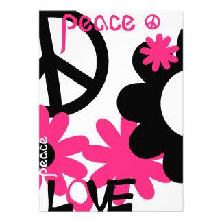Paz, amor y fiesta en rosas fuertes y NT negro Comunicado Personalizado