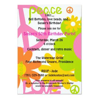 Paz, amor y fiesta invitación 12,7 x 17,8 cm