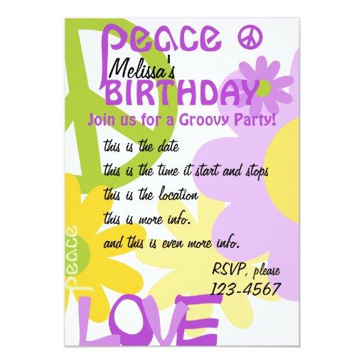 """Paz, amor y fiesta invitación 5"""" x 7"""""""