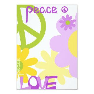 """Paz, amor y fiesta - texto en blanco invitación 5"""" x 7"""""""