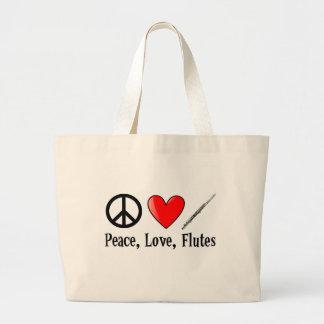 Paz, amor, y flautas bolsas de mano