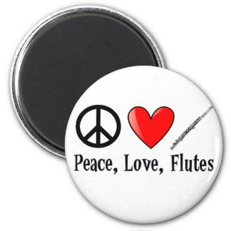 Paz, amor, y flautas imanes de nevera