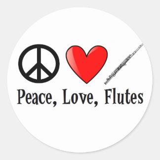 Paz, amor, y flautas pegatina redonda