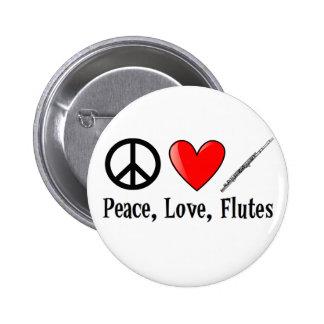 Paz, amor, y flautas pin redondo de 2 pulgadas