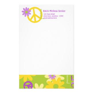 Paz amor y flores  papeleria de diseño