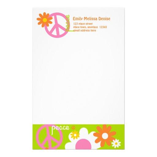 Paz, amor y flores papelería personalizada