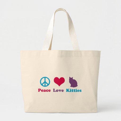 Paz, amor y gatitos bolsa tela grande