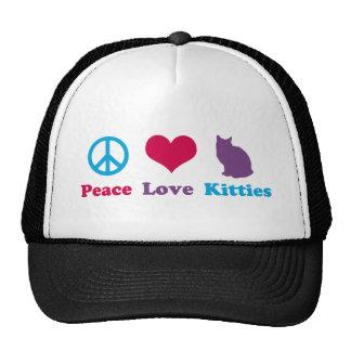 Paz, amor y gatitos gorra