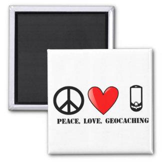 Paz, amor, y Geocaching Imán Cuadrado