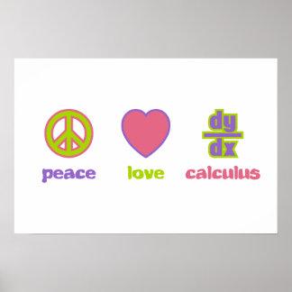 Paz, amor y impresiones y posters del cálculo