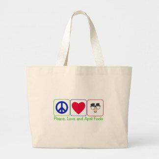 Paz, amor y inocentes bolsa tela grande