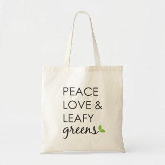 Paz, amor y la bolsa de asas frondosa de los