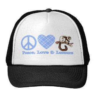 Paz, amor y Lemurs Gorros