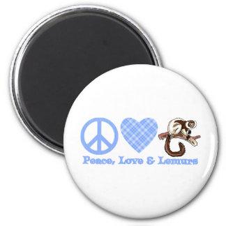 Paz, amor y Lemurs Imán Redondo 5 Cm