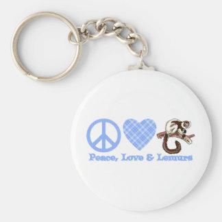 Paz, amor y Lemurs Llavero Redondo Tipo Pin