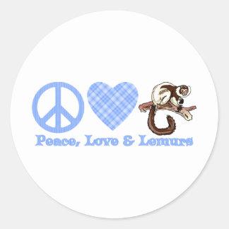 Paz, amor y Lemurs Pegatina Redonda