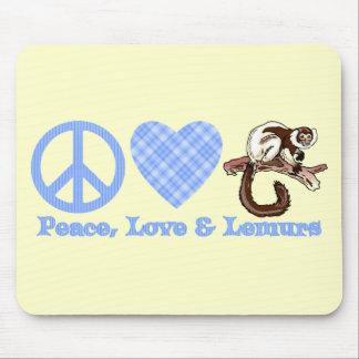 Paz, amor y Lemurs Tapete De Ratón