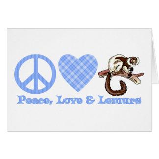 Paz, amor y Lemurs Tarjeta De Felicitación