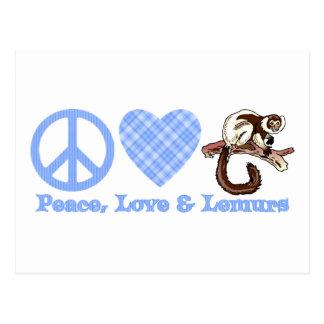 Paz, amor y Lemurs Postales