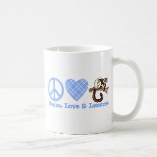 Paz, amor y Lemurs Taza Básica Blanca