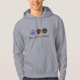 Paz, amor y lobos sudadera con capucha