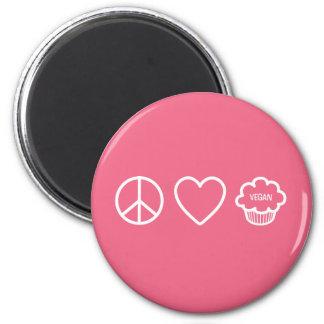 Paz, amor y magdalenas del vegano imán redondo 5 cm