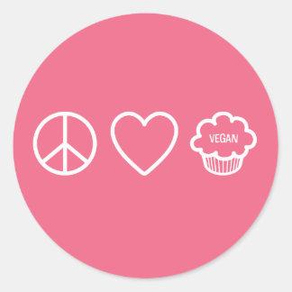 Paz, amor y magdalenas del vegano pegatina redonda