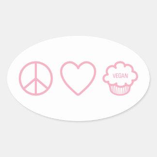 Paz, amor y magdalenas del vegano pegatina ovalada