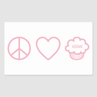 Paz, amor y magdalenas del vegano pegatina rectangular